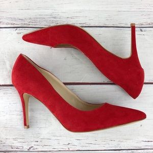 MARC FISHER red pointed toe pumps size 10